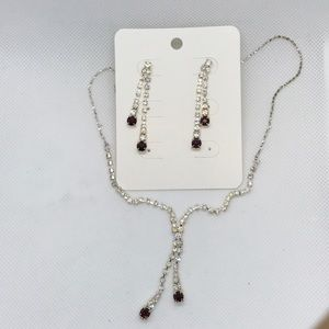 Purple Rhinestone Necklace Earring jewelry set